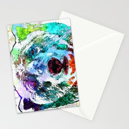Polar Bear Watercolor Grunge Stationery Cards
