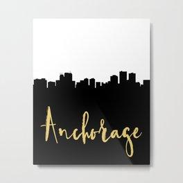 ANCHORAGE ALASKA DESIGNER SILHOUETTE SKYLINE ART Metal Print