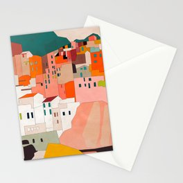 italy coast houses minimal abstract painting Stationery Cards