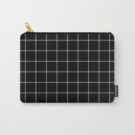 Grid Pattern Line Stripe Black and White Minimalist Geometric Stripes Lines Carry-All Pouch