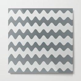 PPG's Night Watch Pewter Green Soft Zigzag Rippled Horizontal Line Pattern Metal Print