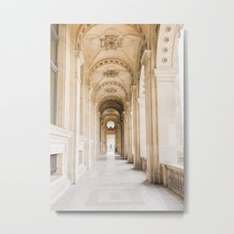 Walking down Passage, Louvre, Paris   Parisian Archway   Travel Photography Metal Print