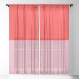 Watermelon Red & Peach Pink Sheer Curtain