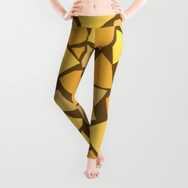 Broken pieces2 - brown & yellow Leggings