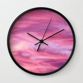 Pink Lavender Clouds Wall Clock