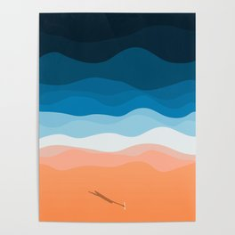 The Lone Surfer | Aerial Poster