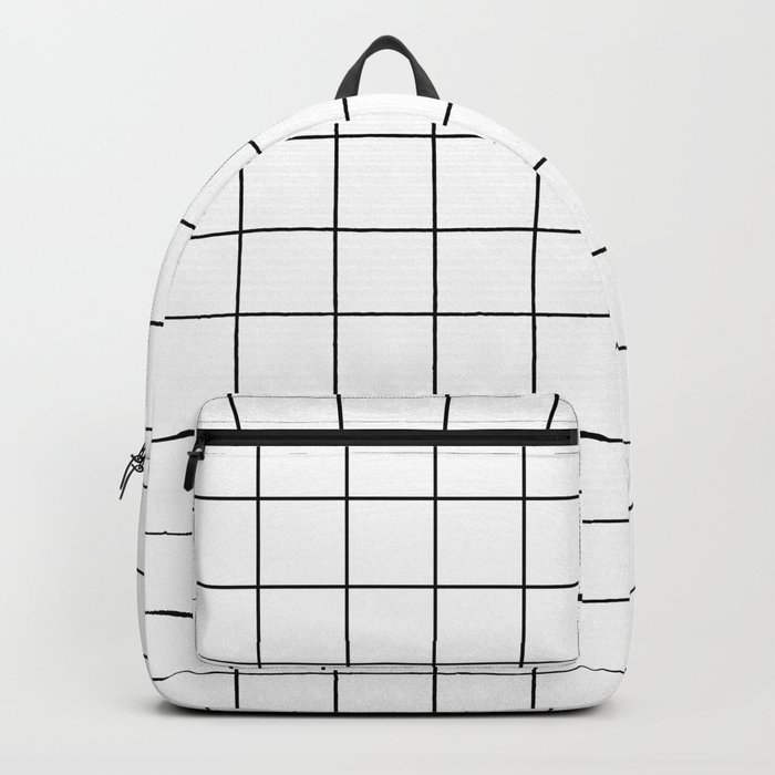 Grid Pattern Stripes Lines Black and White Minimalist Geometric Stripe Line Rucksack