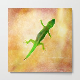 Sunbaking Gecko Metal Print