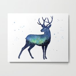 Galaxy Reindeer Silhouette with Northern Lights Metal Print