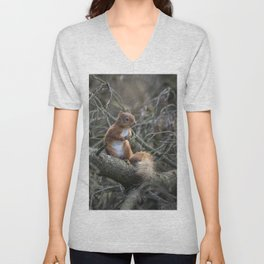Cute little wild woodland red squirrel in the branches Unisex V-Neck