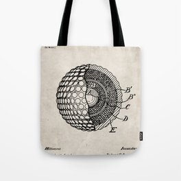 Golf Ball Patent - Golfer Art - Antique Tote Bag