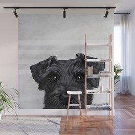 Black Schnauzer Dog illustration original painting print Wall Mural