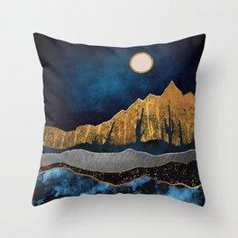 Midnight Desert Moon Throw Pillow