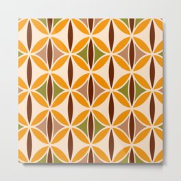 Retro 70s yellow brown ovals grid Metal Print
