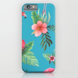 Pink Flamingo Tropical garden paradise iPhone Case