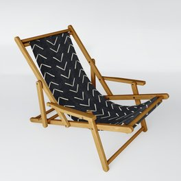 Mudcloth Big Arrows in Black and White Sling Chair
