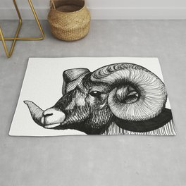 Hand Drawn Black and White Bighorn Sheep Portrait Rug