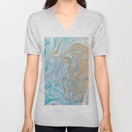 Marble turquoise gold silver Unisex V-Neck