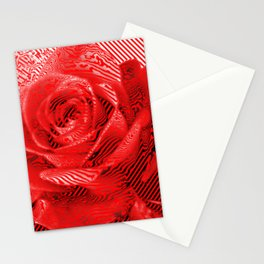 Floral stripes = Modern version of a rose as a symbol of love and passion Stationery Cards