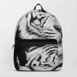 Black and white macro face portrait of white bengal tiger Backpack