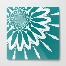 The Modern Flower Teal Metal Print