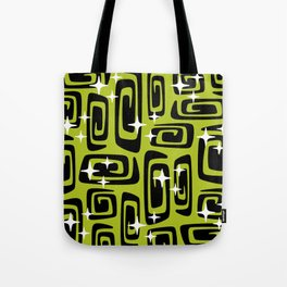 Mid Century Modern Cosmic Galaxies 435 Black and Chartreuse Green Tote Bag