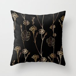 Black & Gold Floral Pattern Throw Pillow