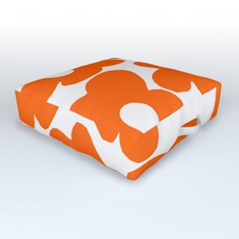 Orange Retro Flowers White Background #decor #society6 #buyart Outdoor Floor Cushion