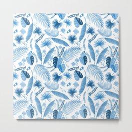 Blue Topical Leaves Pattern Metal Print
