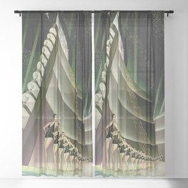 'We Came Here to Shine' - Billy Rose's Acquacade Art Deco 1920's Theatrical Portrait Sheer Curtain