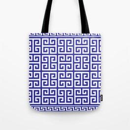 Greek Key (Navy Blue & White Pattern) Tote Bag