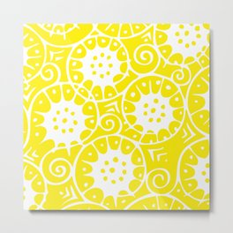 Lemon Swirl Pattern | Swirl Pattern | Abstract Patterns | Yellow and White | Metal Print