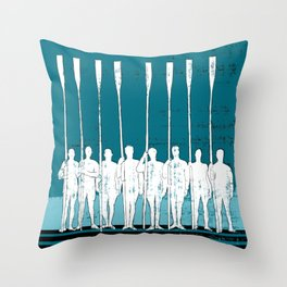 Rowing Crew in White & Blue Throw Pillow