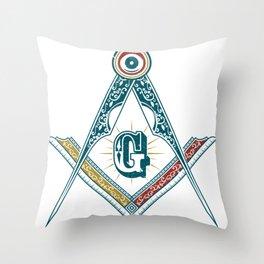 Square and Compass - freemasonry Throw Pillow