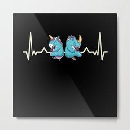 Cute Chubby Unicorn Rhino Heartbeat Gift Metal Print