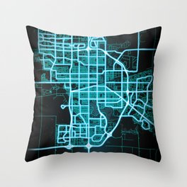 Regina, SK, Canada, Blue, White, Neon, Glow, City, Map Throw Pillow