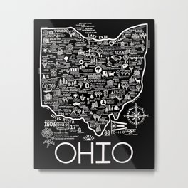 Map of Ohio Metal Print