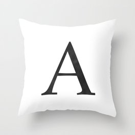 Letter A Initial Monogram Black and White Throw Pillow