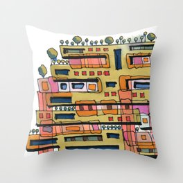 Urban Nature Building Architectural Illustration 62 Throw Pillow