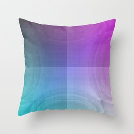 Pink Purple Blue Ombre Grid Pattern Throw Pillow
