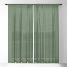 Solid Dark Forest Green Simple Solid Color All Over Print Sheer Curtain