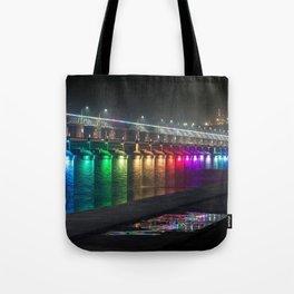 Amazing Colorful Krishna River Bridge Vijayawada India Asia Ultra HD Tote Bag
