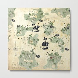 Hand Drawn Pirate Map Metal Print