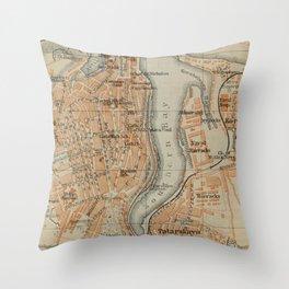 Vintage Sevastopol Ukraine Map (1914) Throw Pillow