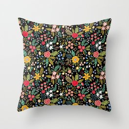 Amazing floral pattern with bright colorful flowers, plants, branches and berries on a black backgro Throw Pillow