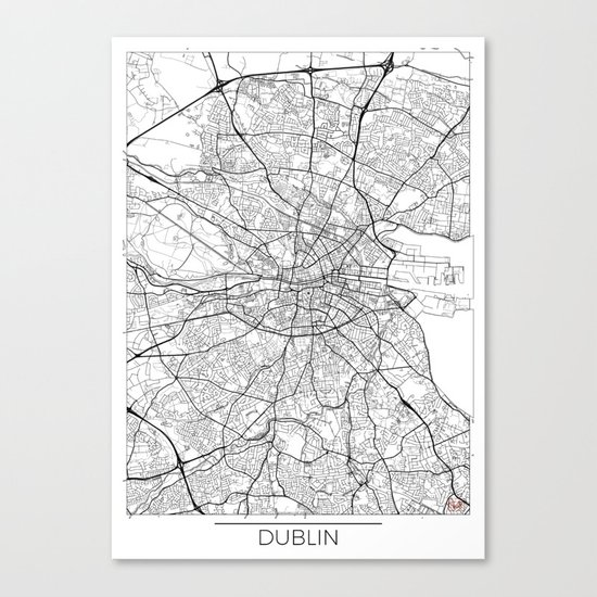 Dublin Map White by hubertroguski
