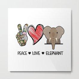 Elephant Peace Love And Elephants  Metal Print