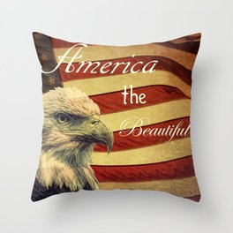 America the Beautiful Rustic Flag A109 Throw Pillow