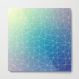 Abstract Blue Geometric Triangulated Design Metal Print