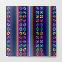 Rainbow Colors Geometric Stripes & Circles on Dark Navy Blue Metal Print
